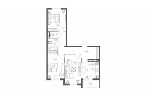 ЖК Озерный гай Гатное: планировка 3-комнатной квартиры 91.3 м²