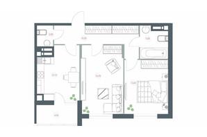 ЖК Озерный гай Гатное: планировка 2-комнатной квартиры 64.1 м²