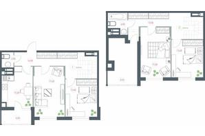 ЖК Озерный гай Гатное: планировка 4-комнатной квартиры 117.23 м²