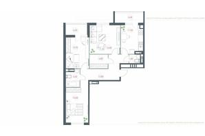 ЖК Озерный гай Гатное: планировка 3-комнатной квартиры 90.48 м²