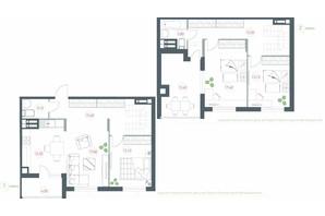 ЖК Озерный гай Гатное: планировка 4-комнатной квартиры 117.02 м²