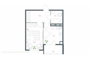 ЖК Озерный гай Гатное: планировка 1-комнатной квартиры 46.5 м²
