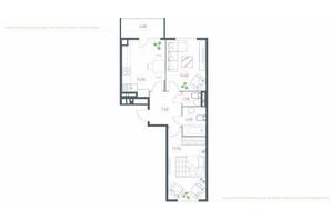 ЖК Озерный гай Гатное: планировка 2-комнатной квартиры 66.48 м²