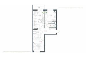 ЖК Озерный гай Гатное: планировка 2-комнатной квартиры 62.62 м²