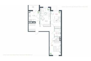 ЖК Озерный гай Гатное: планировка 3-комнатной квартиры 91.1 м²