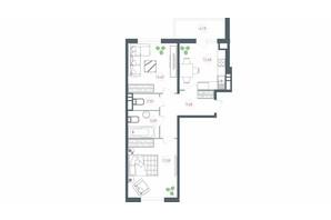 ЖК Озерный гай Гатное: планировка 2-комнатной квартиры 65.69 м²