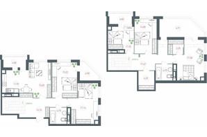 ЖК Озерный гай Гатное: планировка 6-комнатной квартиры 173.6 м²