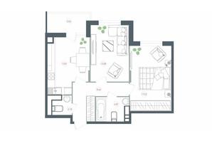 ЖК Озерный гай Гатное: планировка 2-комнатной квартиры 65.97 м²