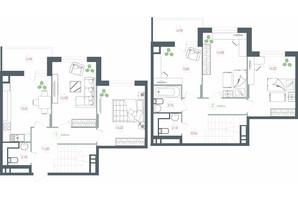 ЖК Озерный гай Гатное: планировка 4-комнатной квартиры 117.49 м²