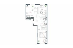 ЖК Озерный гай Гатное: планировка 2-комнатной квартиры 62.76 м²