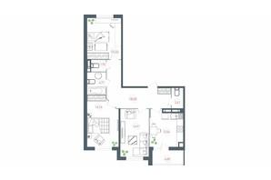 ЖК Озерный гай Гатное: планировка 3-комнатной квартиры 91.37 м²