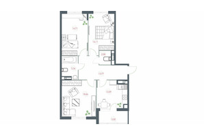ЖК Озерный гай Гатное: планировка 3-комнатной квартиры 88.94 м²