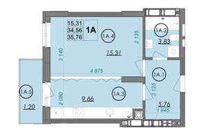 ЖК PANORAMA: планировка 1-комнатной квартиры 35.76 м²