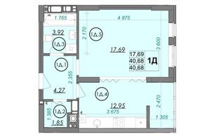 ЖК PANORAMA: планировка 1-комнатной квартиры 40.68 м²
