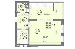 ЖК PANORAMA: планировка 1-комнатной квартиры 41.61 м²