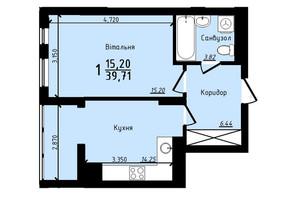 ЖК PLUS II: планировка 1-комнатной квартиры 39.71 м²