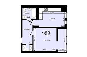ЖК PLUS II: планировка 1-комнатной квартиры 51.34 м²