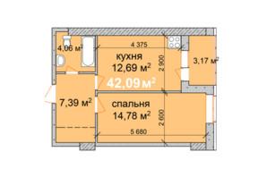 ЖК Palladio: планировка 1-комнатной квартиры 42.09 м²