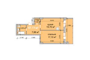 ЖК Palladio: планировка 1-комнатной квартиры 57.11 м²