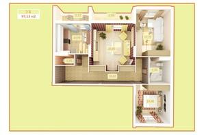 ЖК Palladium: планування 3-кімнатної квартири 97.7 м²