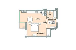 ЖК Панда: планування 1-кімнатної квартири 42.6 м²