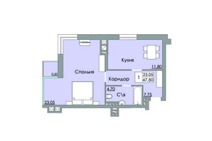 ЖК Панда: планування 1-кімнатної квартири 47.8 м²