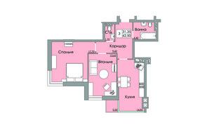 ЖК Панда: планування 2-кімнатної квартири 62.5 м²