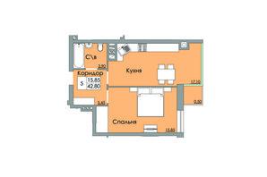 ЖК Панда: планировка 1-комнатной квартиры 42.8 м²