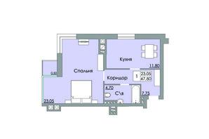 ЖК Панда: планировка 1-комнатной квартиры 47.8 м²