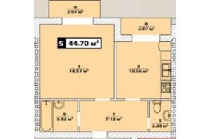 ЖК Паннонія: планування 1-кімнатної квартири 44.7 м²