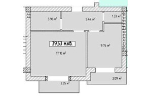 ЖК Паннонія: планування 1-кімнатної квартири 39.53 м²