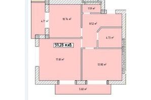 ЖК Паннонія: планування 2-кімнатної квартири 59.28 м²