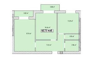 ЖК Паннонія: планування 2-кімнатної квартири 60.73 м²