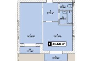 ЖК Паннония: планировка 1-комнатной квартиры 46.6 м²