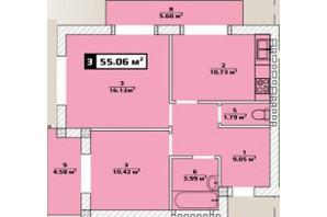 ЖК Паннония: планировка 2-комнатной квартиры 55.06 м²