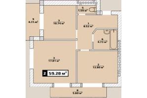 ЖК Паннония: планировка 2-комнатной квартиры 59.28 м²