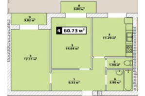 ЖК Паннония: планировка 2-комнатной квартиры 60.73 м²