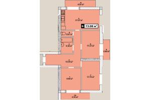 ЖК Паннония: планировка 3-комнатной квартиры 73.08 м²