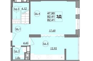 ЖК Panorama: планування 3-кімнатної квартири 82.41 м²