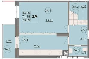 ЖК Panorama: планування 3-кімнатної квартири 73.59 м²