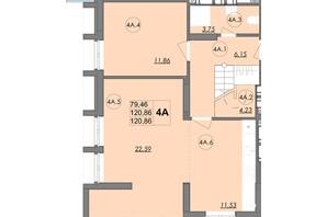 ЖК Panorama: планировка 4-комнатной квартиры 120.86 м²