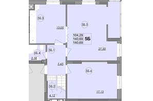 ЖК Panorama: планировка 5-комнатной квартиры 140.69 м²