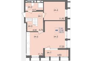 ЖК Panorama: планування 4-кімнатної квартири 120.7 м²