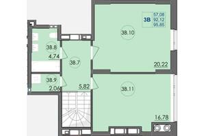 ЖК Panorama: планування 3-кімнатної квартири 95.85 м²