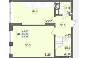 ЖК Panorama: планировка 3-комнатной квартиры 85.33 м²