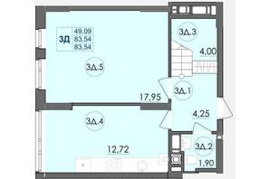 ЖК Panorama: планировка 3-комнатной квартиры 83.54 м²
