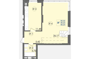 ЖК Panorama: планування 3-кімнатної квартири 90.23 м²