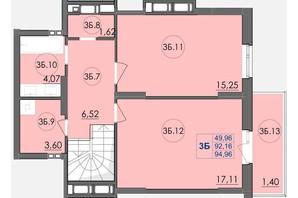 ЖК Panorama: планування 3-кімнатної квартири 94.96 м²