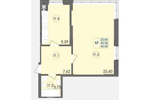 ЖК Panorama: планування 1-кімнатної квартири 46.56 м²