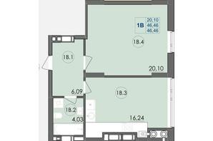 ЖК Panorama: планування 1-кімнатної квартири 46.46 м²